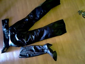 My wifes aged boots and leatherpants