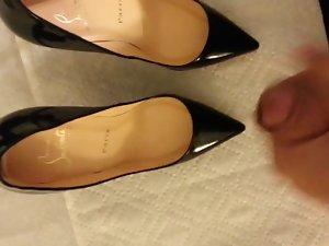 cum on girlfriend black louboutin heels