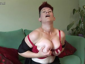 Bushy big breasted mature whore getting lactating