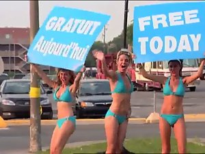Luscious Car Wash Prank with lewd Bikini Ladies