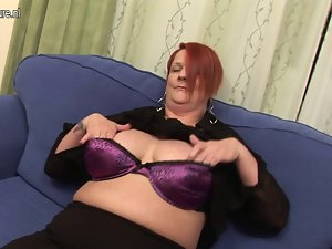 Anus play with banana with plumper experienced stepmom