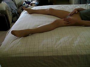 Pantyhose bed hump ............ and cum...heehee