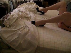 Beige RHT stockings, heels, pantys, jerking in bed