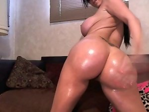 Buxom dark haired with a artificial naughty ass dances