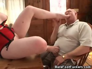 Lewd Red Head Honey With A Foot Fetish