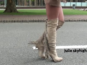 sensual frenchteen in suede overknee boots teasing minidress