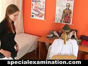 Shy redhead cutie visits a gynecologist