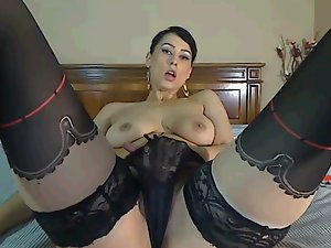 Chaturbate Cam Lassie Plays with Knockers and Twat