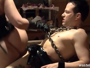 Horny fuck tied down on the dungeon table
