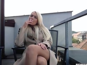 MAGMA FILM Big titted tempting blonde German slutty girl rubs her pretty muff