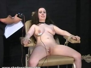 Electro tortured cute bbw in harsh stool bondage and severe suffering of chubby