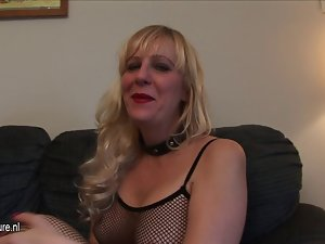 American cheating wife at fishnet dress loves to get moist