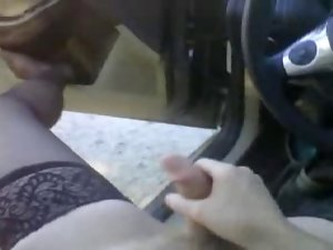 Bear in thigh high nylons jerking off in the car at the park