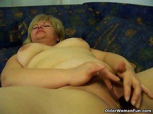 Plumper attractive mature mature whore rubs her swollen cunt