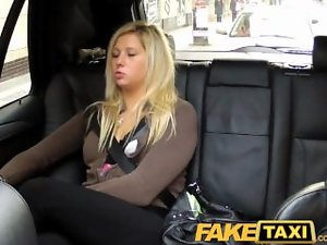 FakeTaxi Blondie talked into licking and banging on the backseat