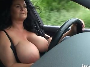 Knockers hanging while driving