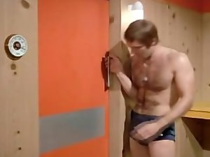 Filthy retro celebrity Michael Billington in sauna