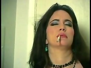 Dark haired large melons smoking masturbation