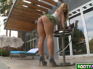 Thick light-haired mum with mega boobs rides a massive phallus 01