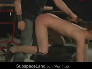 Luscious submissive light-haired brutal whipped and doggie banged in a dark loft