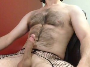 jacking my big strong throbbing dick in crotchless fishnets and panties