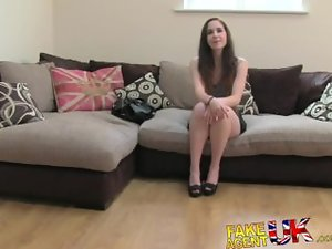 FakeAgentUK Casting couch sees Spanish cutie deep throated and creampied