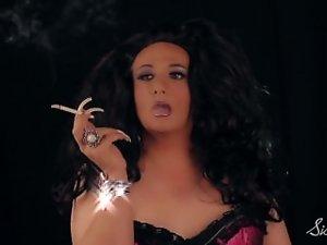 Sissy Tia Smokes On Ebony