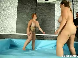 Naked wrestling match with 2 fatty and buxom wenches