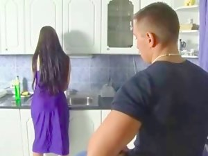 18 years old german couple fuck in the kitchen