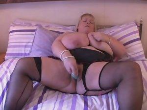 Cute bbw Mega boobs English Blondie Fingers on Bed