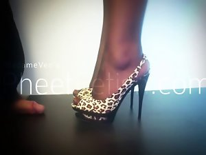 Shoejob and penis crushing with slingback high heel