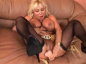 buxom experienced tempting blonde toying and grinding