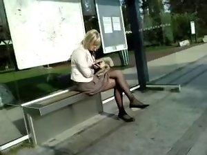 pantyhose at stop bus 03