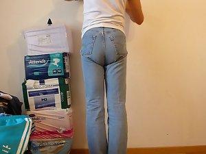 crossdresser with diaper under jeans