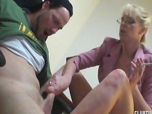 Mummy Boss Smokes and jerking Dick