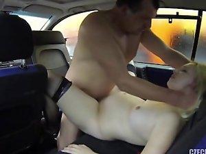 pregnant harlot shagged in car