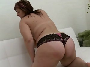 plump girlie with enormous hooters in masturbating activity