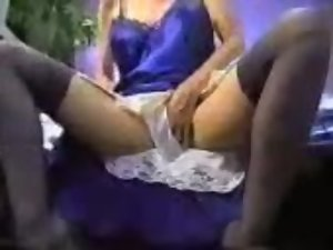 Blue Satin Dress Masturbation