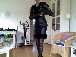 Sissy sensual ebony leather dress 2