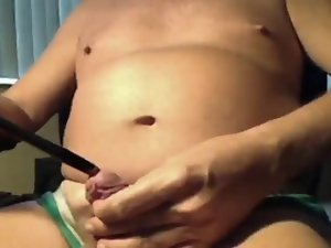 attractive kinky play with nip clips and phallus rod and cum shot