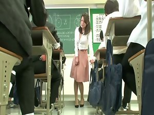 Remote vibrating sex toy under teacher skirt