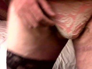 Wanking over panties while wearing stockings