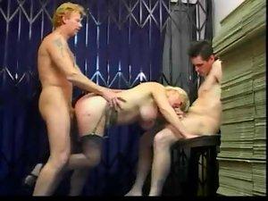 bareback trio with cum on knockers