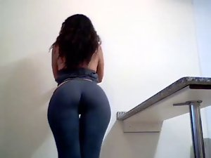 Great dark haired showing her flawless big naughty butt