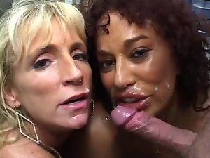 Gina DePalma and Friend Licking Shaft