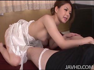 China Mimura gives a excellent rim job before stroking a penis