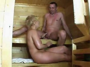 attractive mature in sauna