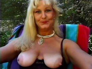 Attractive mature Queen Lynn Shagged Poolside