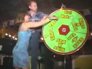 american bombshell strips during spring break(stripping wheel)