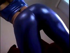 Blondie in blue spandex